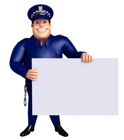 lockup: 3D Rendered illustration of Police with white board