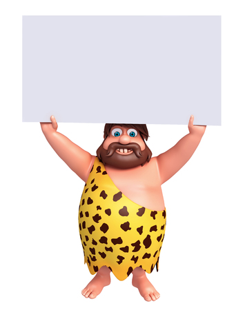 threatening: 3D Rendered illustration of caveman with white board Stock Photo