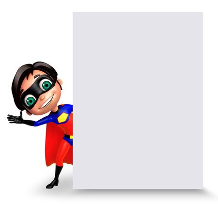 superboy: 3D Rendered illustration of superboy with white board