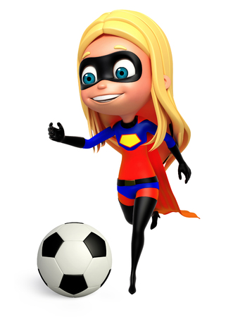 supergirl: 3D Rendered illustration of supergirl with football