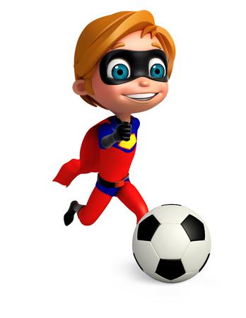 superboy: 3D Rendered illustration of superboy with football