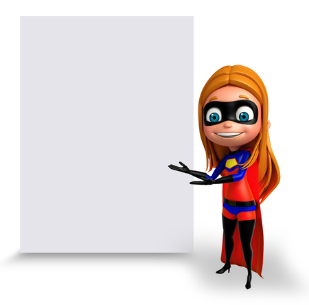 supergirl: 3D Rendered illustration of supergirl with white board Stock Photo