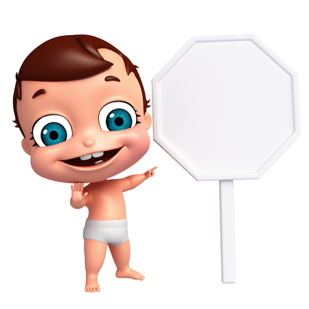 bebe a bordo: 3D Render of baby with white board