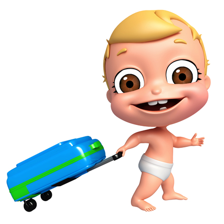 trolly: 3D Render of baby with Trolly bag