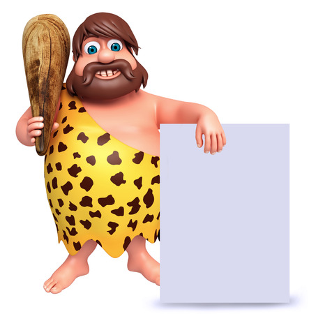cartoon warrior: 3D Rendered illustration of caveman with white board Stock Photo