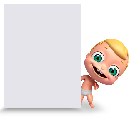 baby on board: 3D Render of baby with white board