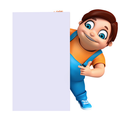 fate: 3D Render of Little boy with white board