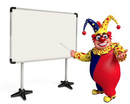 fate: 3D Rendered illustration of fate clown with white board