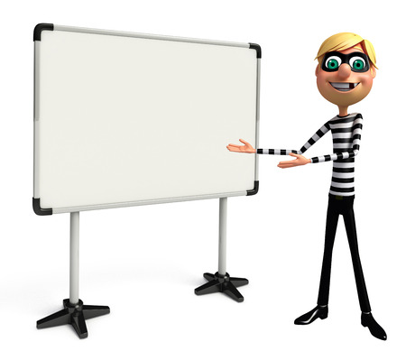 housebreaking: 3D Rendered illustration of slim Thief with white board