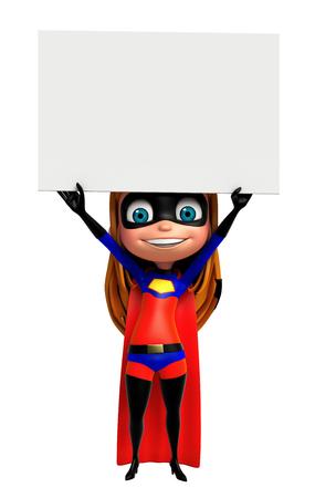 supergirl: 3D Rendered illustration of superhero girl with white board