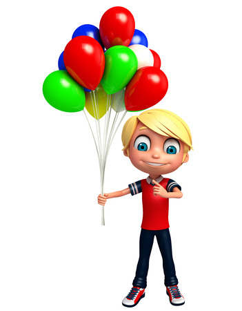 baloon: 3D Render of Little boy with baloon