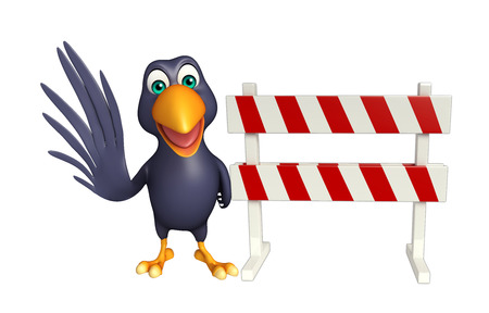 security lights: 3d rendered illustration of Crow cartoon character with baracade