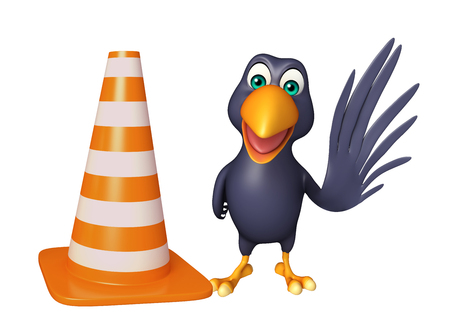 fix jaw: 3d rendered illustration of Crow cartoon character  with  construction cone Stock Photo