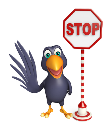 drive ticket: 3d rendered illustration of Crow cartoon character with stop sign Stock Photo