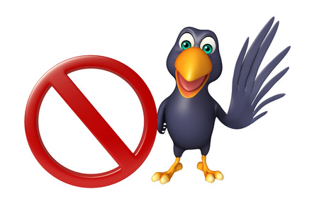 drive ticket: 3d rendered illustration of Crow cartoon character  with stop sign