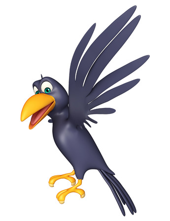 3d rendered illustration of flying  Crow cartoon character