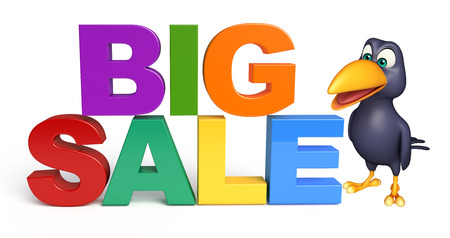 3d rendered illustration of Crow cartoon character  with bigsale sign