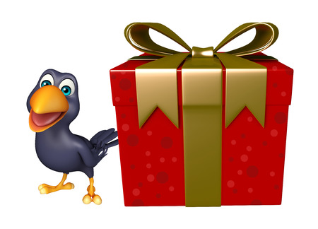 giftbox: 3d rendered illustration of Crow cartoon character with giftbox Stock Photo