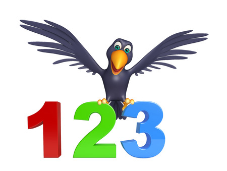 kiddie: 3d rendered illustration of Crow cartoon character with 123 sign Stock Photo