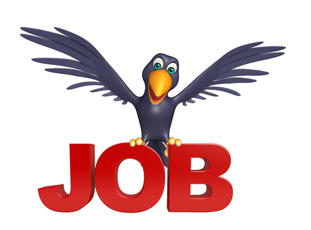 job hunting: 3d rendered illustration of Crow cartoon character with job sign Stock Photo