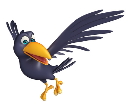 bird feathers: 3d rendered illustration of flying  Crow cartoon character