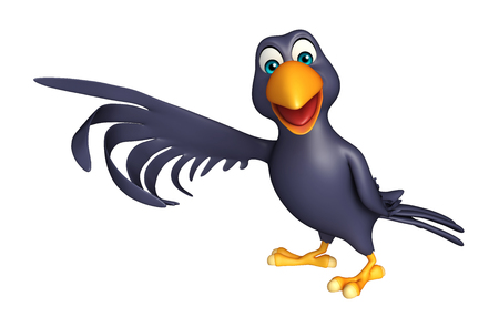 3d rendered illustration of pointing  Crow cartoon character