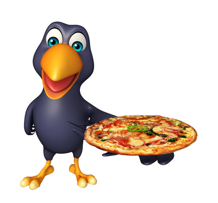 3d pizza: 3d rendered illustration of Crow cartoon character with pizza Stock Photo