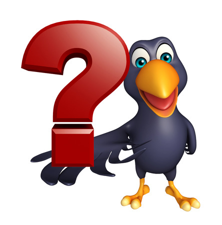 enigma: 3d rendered illustration of Crow cartoon character with question sign