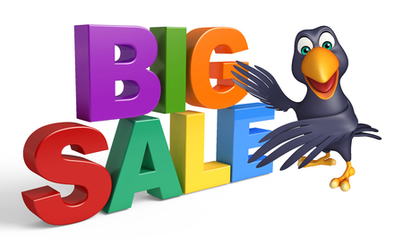 floating market: 3d rendered illustration of Crow cartoon character  with bigsale sign