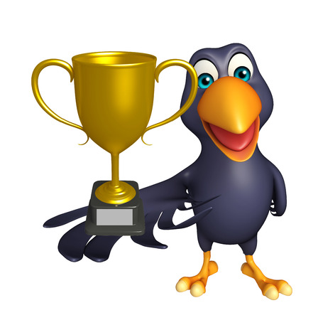 3d rendered illustration of Crow cartoon character with winning cup 版權商用圖片