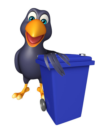 dustbin: 3d rendered illustration of Crow cartoon character with dustbin Stock Photo