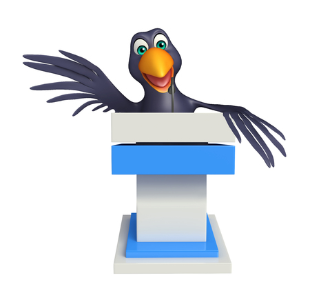 3d rendered illustration of Crow cartoon character  with speech chair