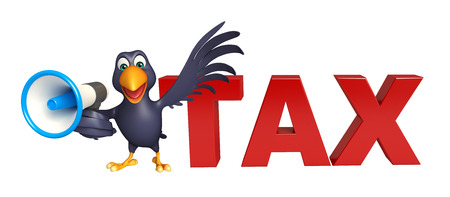 loud speaker: 3d rendered illustration of Crow cartoon character with loud speaker and tax sign