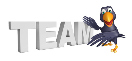 collectives: 3d rendered illustration of Crow cartoon character with team sign Stock Photo