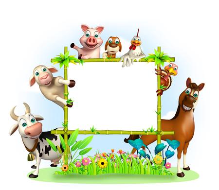 farm field: 3d rendered illustration of farm animal Stock Photo