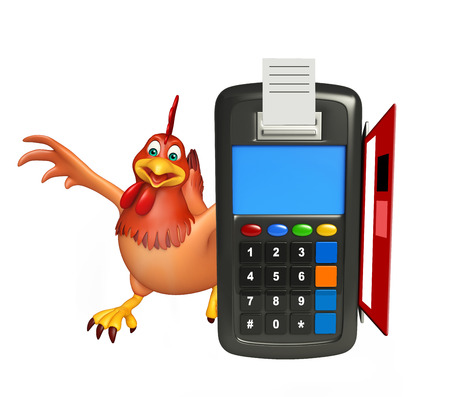 3d rendered illustration of Hen cartoon character with swap machine