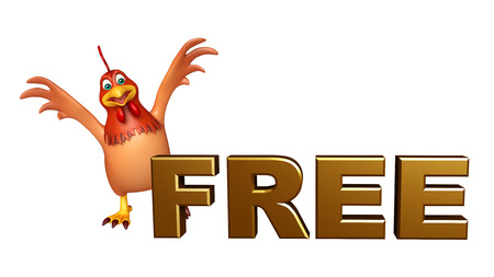 toonimal: 3d rendered illustration of Hen cartoon character with free sign