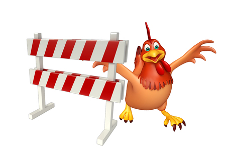 constuction: 3d rendered illustration of Hen cartoon character with baracade