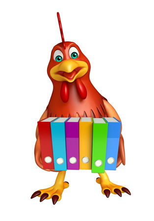 dossier: 3d rendered illustration of Hen cartoon character with files