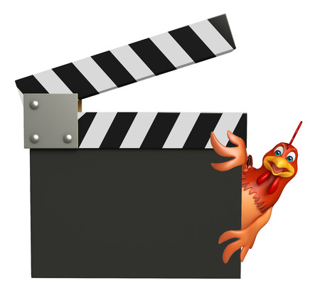 clapboard: 3d rendered illustration of Hen cartoon character with clapboard