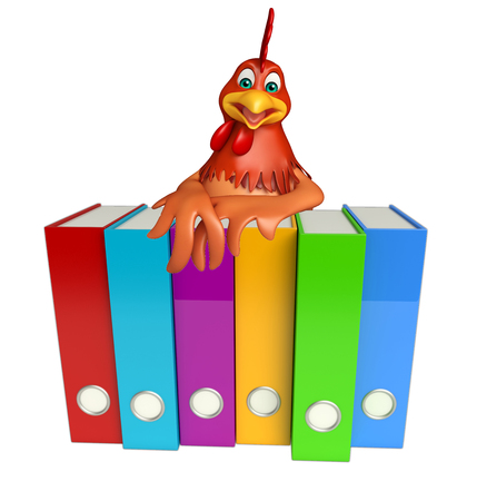 search box: 3d rendered illustration of Hen cartoon character with files