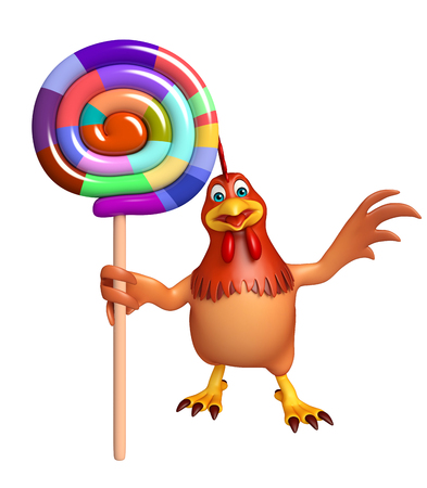 toonimal: 3d rendered illustration of Hen cartoon character with lollypop Stock Photo