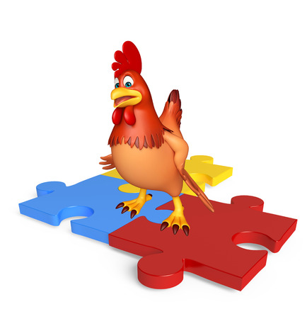 jig saw: 3d rendered illustration of Hen cartoon character with puzzle Stock Photo
