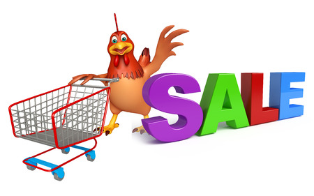 trolly: 3d rendered illustration of Hen cartoon character with trolly and sale sign
