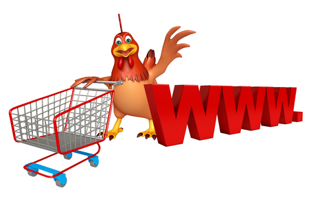 trolly: 3d rendered illustration of Hen cartoon character with trolly and www.sign