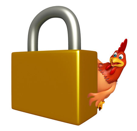 coded: 3d rendered illustration of Hen cartoon character with lock