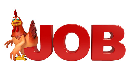 job hunting: 3d rendered illustration of Hen cartoon character with job sign