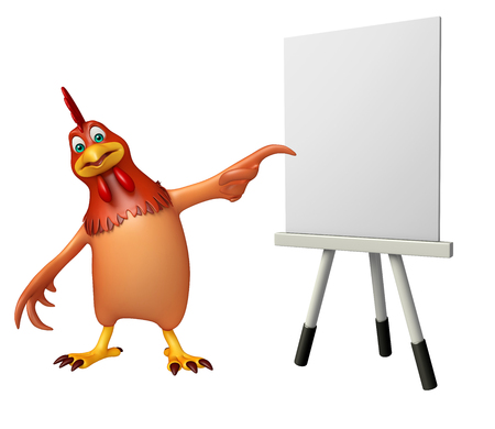 easel: 3d rendered illustration of Hen cartoon character with easel board