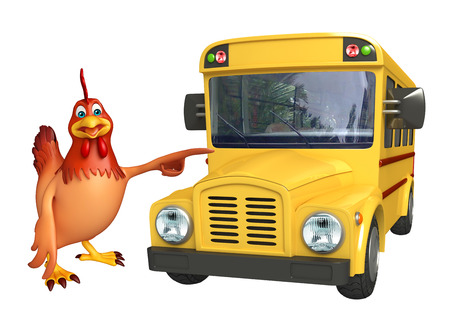 student travel: 3d rendered illustration of Hen cartoon character with school bus