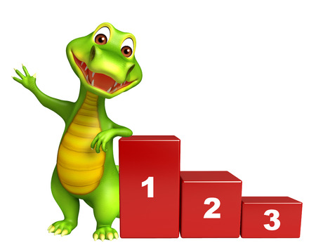education cartoon: 3d Rendered alligator cartoon character with level